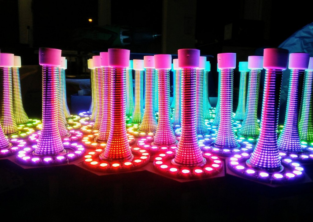 A set of springs lit by bright LEDs.